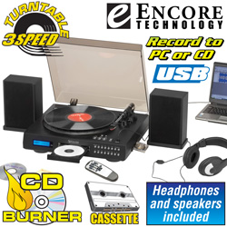 PC Turntable And CD Recorder With Speakers  Model# 2656