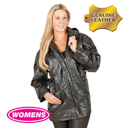 Womens Black Leather Hooded Coat  Model# 282110-BLK