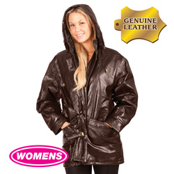 Womens Brown Leather Hooded Coat  Model# 282110-BRN
