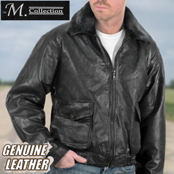 Patchwork Leather Bomber Jacket  Model# 287334