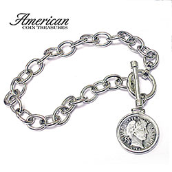 Sterling Silver Toggle Bracelet With Silver Barber Dime  Model# 253