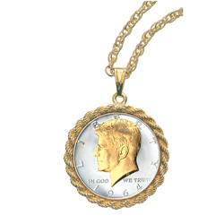 JFK Half Dollar Rope Bezel Pendant