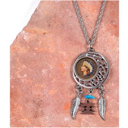 Colorized Indian Head Penny Dream Catcher Pendant