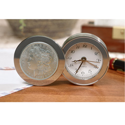 Morgan Silver Dollar Travel Clock