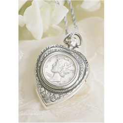 The Silver Mercury Dime Heart Pendant &amp; Watch