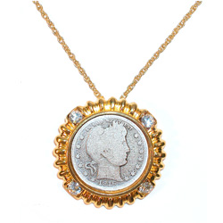 Barber Quarter in Goldtone Bezel with Crystal Accents - Goldtone Chain