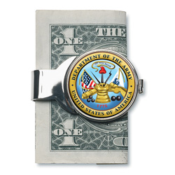 Silver-toned Moneyclip with Army JFK