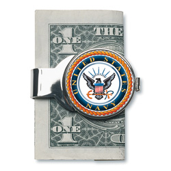 Silver-toned Moneyclip with Navy JFK