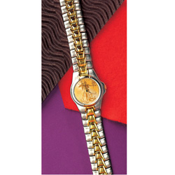 Men's Two-Tone Watch with St. Gaudens $20 Gold Piece Replica