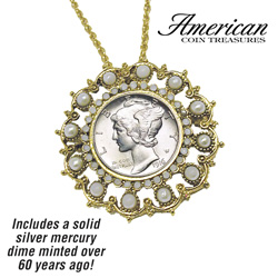 Silver Mercury Dime Pendant  Model# 11267
