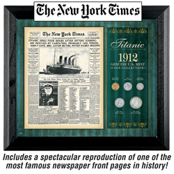 New York Times Titanic 1912 U.S. Mint 4 Coin Collection Framed&nbsp;&nbsp;Model#&nbsp;50038
