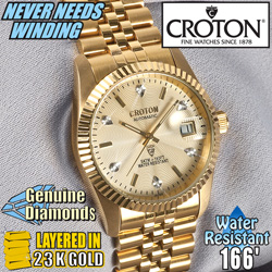 Croton Mens 6 Diamond Automatic Watch  Model# CR307699YLCD