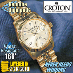 Croton Ladies 6 Diamond Automatic Watch  Model# CR207699YLCD