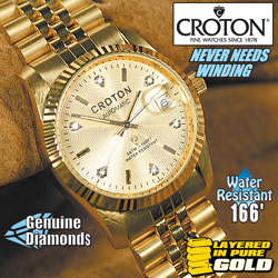 Croton 6 Diamond Gold Watch  Model# CI331699YLCD