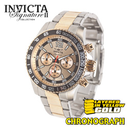 Invicta Two-Tone Gold Chronograph Watch  Model# 7408