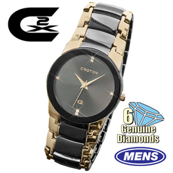 CX2 by Croton 6-Diamond Watch  Model# CX328033TTBK