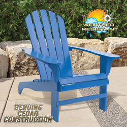 Cedar Adirondack Chair - Blue  Model# CS-001KD-BL