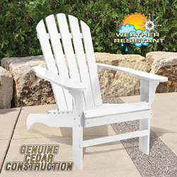 Cedar Adirondack Chair - White  Model# CS-001KD-WH