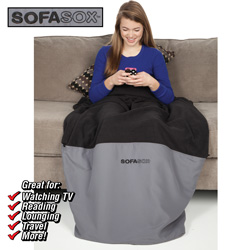 SofaSox Microfleece Blanket  Model# BLACK/GREY
