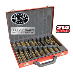 214 Piece Titanium Drill Bit Set&nbsp;&nbsp;Model#&nbsp;YF214