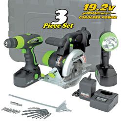 3 Piece 19.2V Cordless Power Tool Kit&nbsp;&nbsp;Model#&nbsp;840646