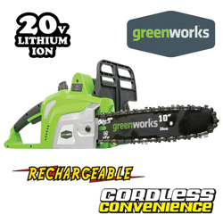 Greenworks Cordless Chain Saw  Model# 20072