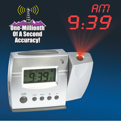 Silver Atomic Projection Clock&nbsp;&nbsp;Model#&nbsp;HPCR02W