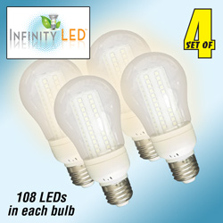 4 Pack Cool 108 LED Bulbs  Model# UAB61CW/4PK