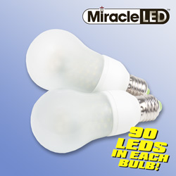 4 Pack Cool/Frosted 90 LED Light Bulbs&nbsp;&nbsp;Model#&nbsp;605065