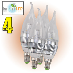 4 Pack Warm LED Candelabra Bulbs  Model# UDC3-WW-4PK