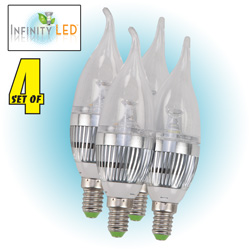 4 Pack Cool LED Candelabra Bulbs  Model# UDC3-CW-4PK