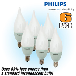 Philips 2 Watt Candelabra Bulbs - 6 Pack