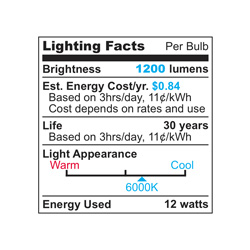 Cool 12-Watt LED Bulb  Model# UPAR3812-CW