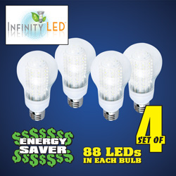 4 Pack Warm Ultra 88 LED Light Bulbs  Model# UA60WW/4