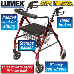 Burgundy Walkabout Rollator  Model# RJ4300R