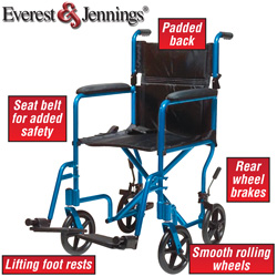 Blue Transport Chair  Model# EJ768-1