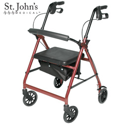 St Johns Medical Premium Rolling Walker - Burgundy - Color: Burgandy