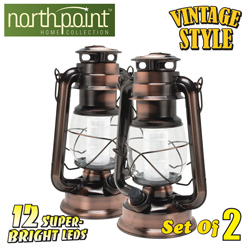 2-Pack Vintage 12 LED Lanterns  Model# 190462 X2