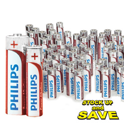 Philips 96 Pack AA Batteries  Model# LR6P4B/17-HEARTLAND