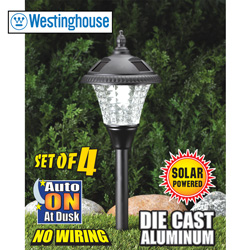 4-Piece Die Cast Aluminum Solar Lights - Black  Model# 351104-08R