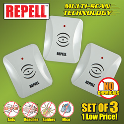 3 Pack of Ultrasonic Pest Repellers  Model# GH-324