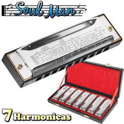 7 Piece Harmonica Set&nbsp;&nbsp;Model#&nbsp;JH1020A7