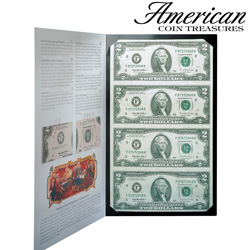 4 Uncut 2 Dollar Bills  Model# 3147