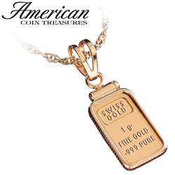 Gold Ingot Pendant 1G  Model# 4859