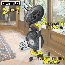Optimus Twin Head Fan  Model# F-8501