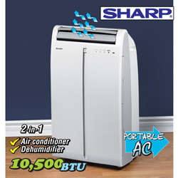 Sharp 10500BTU Portable A/C&nbsp;&nbsp;Model#&nbsp;CVP2P10SC-R