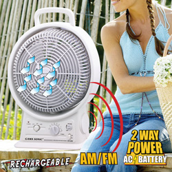 Portable Rechargeable Fan/Radio  Model# PRTFAN