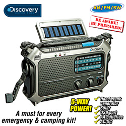 Discovery Self-Powered Weather Radio&nbsp;&nbsp;Model#&nbsp;D105X