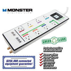 Monster 8-Outlet Surge Protector  Model# MDP800-WHITE