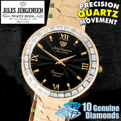 Jules Jurgensen 10 Diamond Mens Gold-Tone Watch  Model# 5212